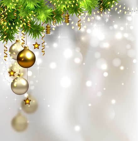 glimmered: glimmered Christmas background with evening balls and garland