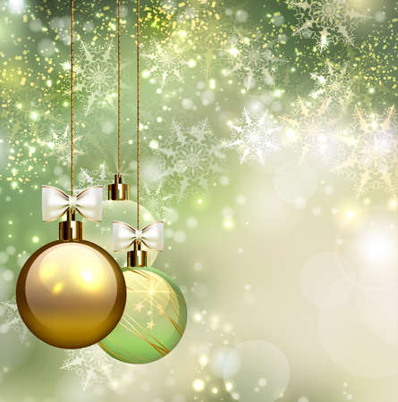 glimmered: green background with Christmas baubles