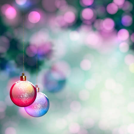 winter holiday: blurred Christmas background with evening balls