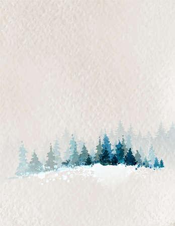 winterlandschap met sparrenbos en herten