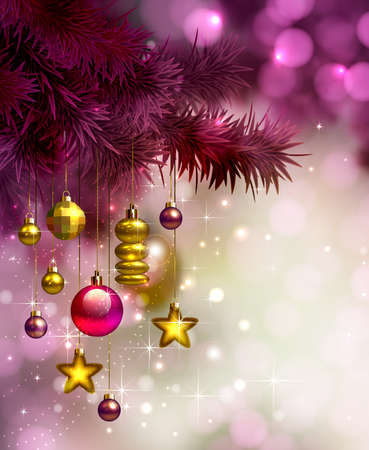 glimmered: glimmered Christmas background with evening baubles