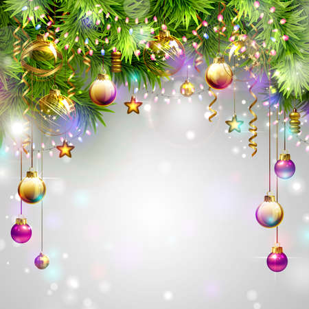christmas fun: Christmas backgrounds with evening balls, garlands and fir-trees branches Illustration