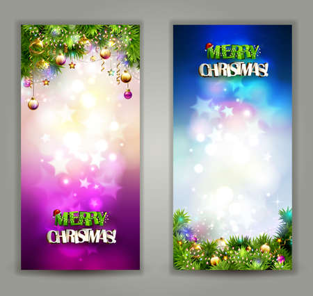 two bright Christmas backgrounds with evening balls and fir-trees branches
