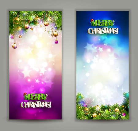 twee heldere Kerst achtergronden met 's avonds ballen en fir-bomen takken