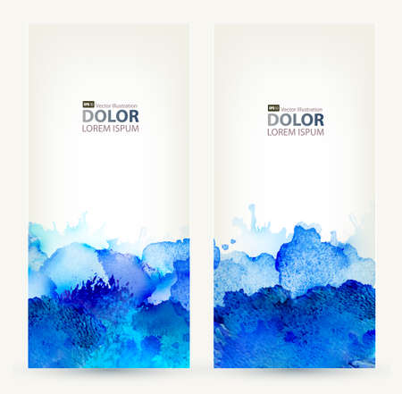 set van twee banners, abstract headers met blauwe vlekken