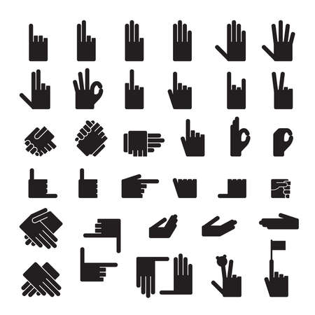 ok sign language: set of 33 hands position.Icons Illustration