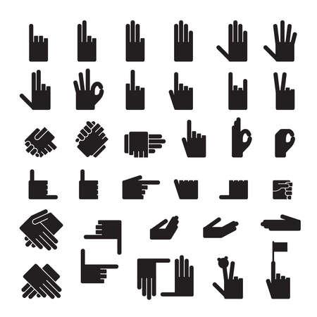 ok hand symbol: set of 33 hands position.Icons Illustration