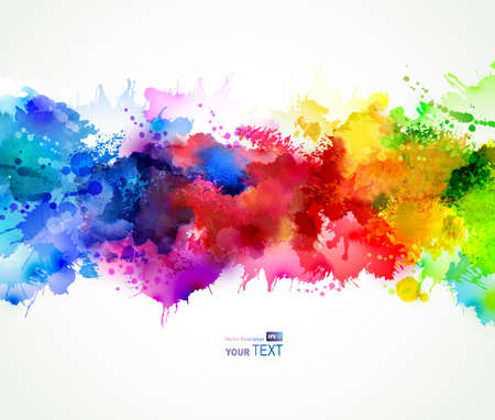 dripping paint: bright background with watercolor stains Illustration