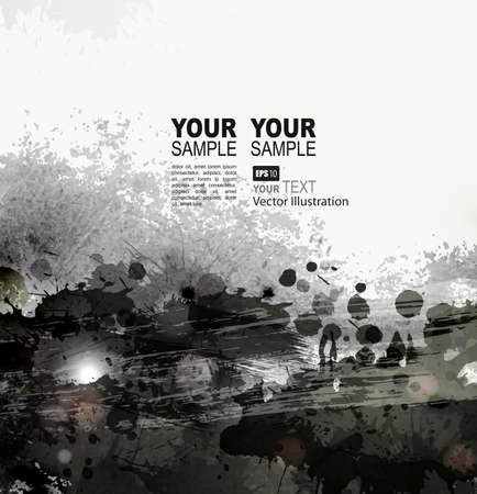 grunge background with black splatters and spots Illustration