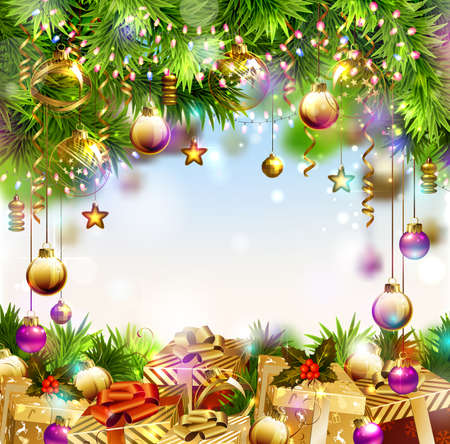 glimmered: Shine Christmas background with Christmas gifts