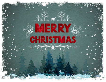 Christmas greeting card with winter forest 일러스트