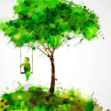 Summer green tree. Dreaming girl on swing.