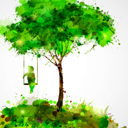 banner of peace: Summer green tree. Dreaming girl on swing.