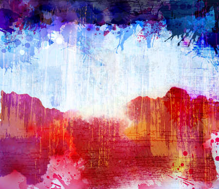 Red and blue watercolor background. Vector blob