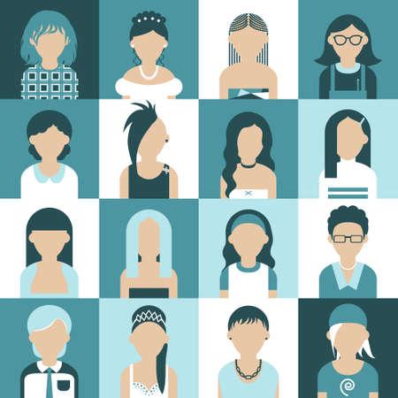 bussines: Sixteen of icons. Avatar set of women. Flat design