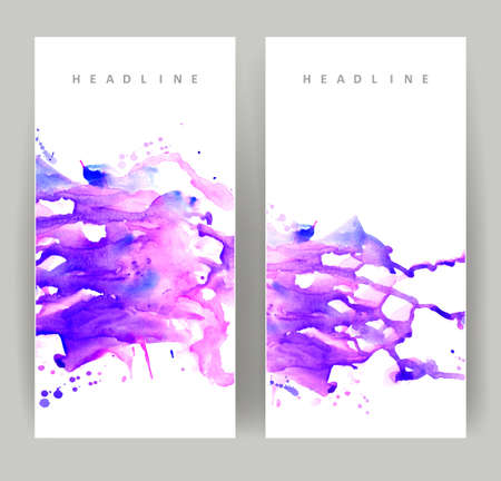 set of two banners, abstract headers with purple blots