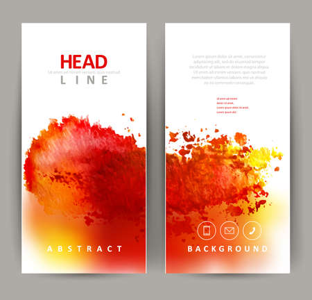 set of two banners, abstract headers with red blot Vettoriali