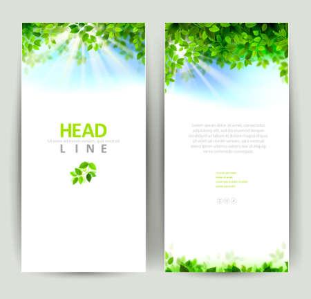 primavera: conjunto de dos naturalezas banners Vectores