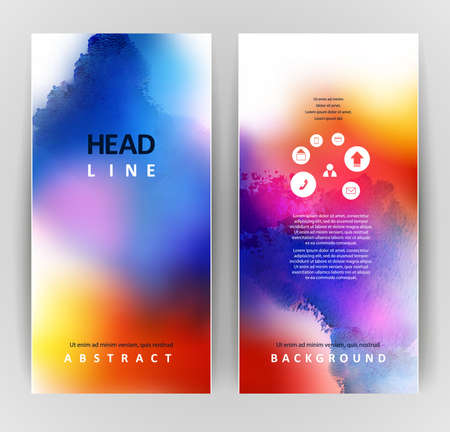 set of two banners, abstract headers with bright blots