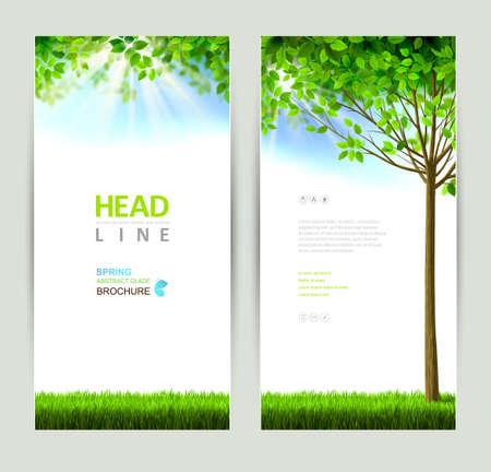 medio ambiente: conjunto de dos naturalezas banners Vectores