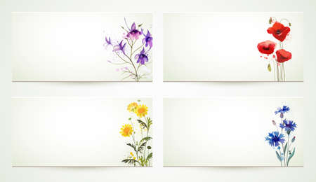 set of four natures banners with cornflowers, poppy, larkspur.