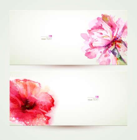 dessin fleur: Deux banni�res de la floraison rose pivoine et de pavot.