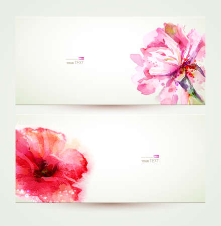 colourful paint: Two banners of flowering pink peony and poppy. Illustration