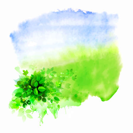 Green leaves composition on the glade. Watercolor abstract.