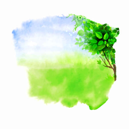 Green tree on the glade. Watercolor abstract. Vettoriali