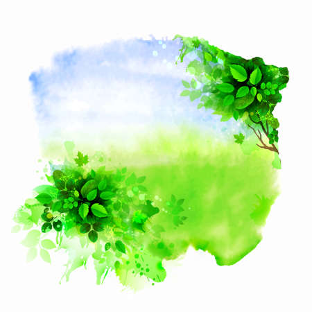 Green tree on the glade. Watercolor abstract. 일러스트
