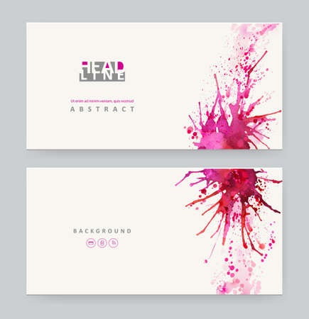 Two banners. Bright watercolor stains with red blots Vector