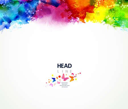 Bright watercolor stains. Multicolor border. Иллюстрация