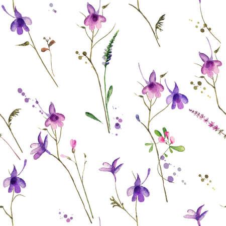flower fields: flower seamless background with fields plants
