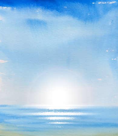 sea landscape: Summer vacation. Blue sky and sea.