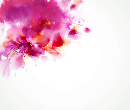 Abstract background with flower and design elements Çizim