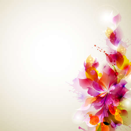 Abstract background with flower and design elements Vettoriali