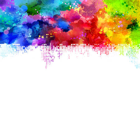 splat: Bright watercolor stains. Rainbow border.