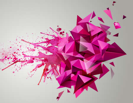 triangular banner: Geometric pink abstract banner. Modern triangular formed by artistic blots.