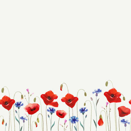 poppy pattern: Floral glade with poppies.