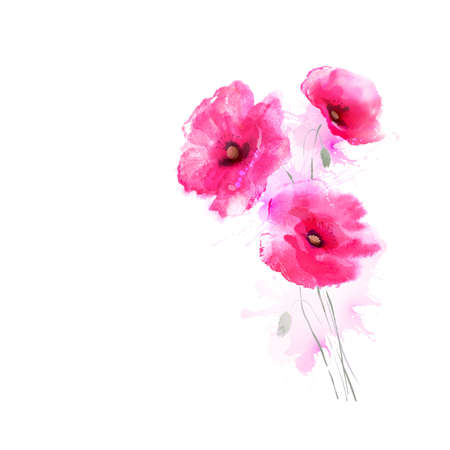 greetingcard: The tree flowering pink poppies. Greetingcard. Illustration
