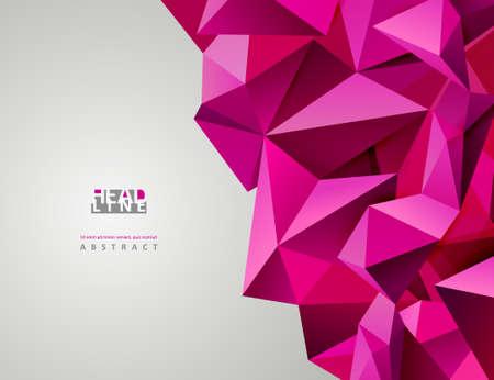 triangular banner: Geometric pink abstract banner. Modern triangular.