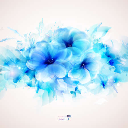 Çiçek ve tasarım öğeleri ile arka plan