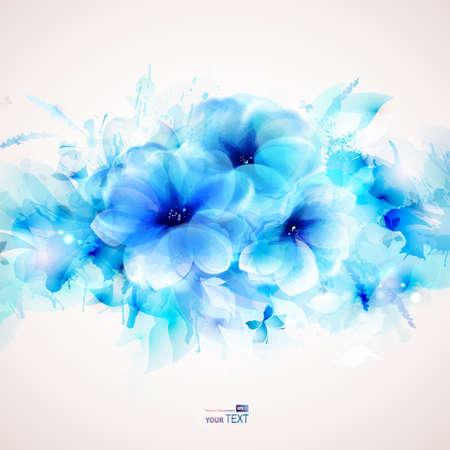 azul: Fondo de arte abstracto con flores y elementos de diseño