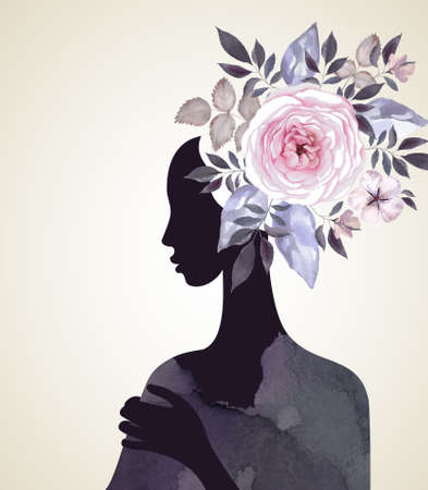 Beautiful women with abstract flower hair Stock Illustratie