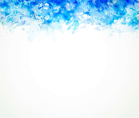blots: watercolor stains with blue blots Illustration