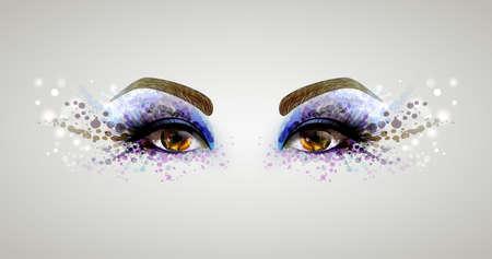 blots: Beautiful fashion woman eyes forming by blots