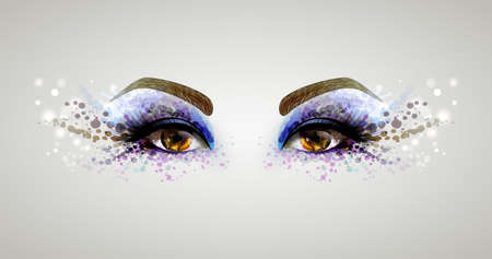 Beautiful fashion woman eyes forming by blots