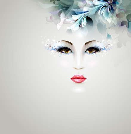 추상적 인 디자인을 꽃 요소와 아름 다운 추상적 인 여성 일러스트