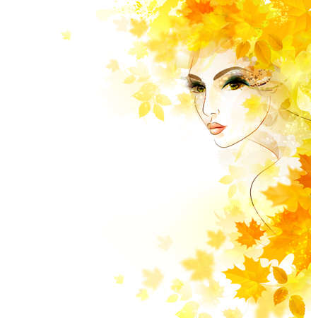 autumn woman: Beautiful women in autumn circlet of leaves Illustration