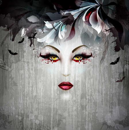 maquillaje de fantasia: imagen Señora de Halloween de la bruja Vectores